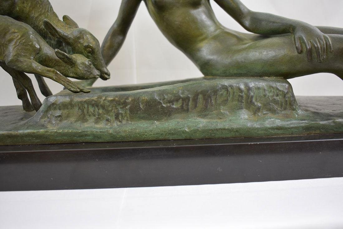 Art Deco SOLID Bronze Nude Statue signed Ary Bitter - 4