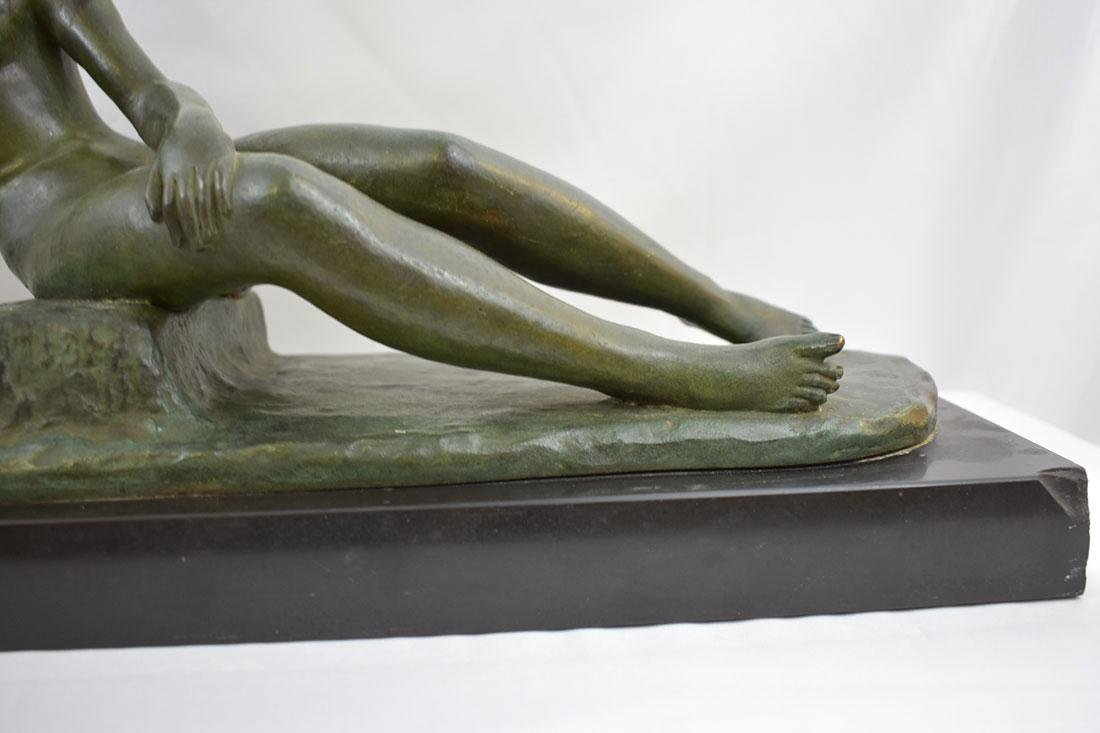 Art Deco SOLID Bronze Nude Statue signed Ary Bitter - 5