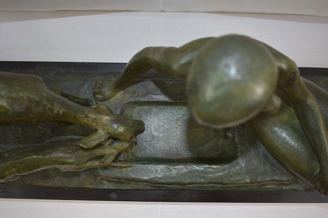 Art Deco SOLID Bronze Nude Statue signed Ary Bitter - 6