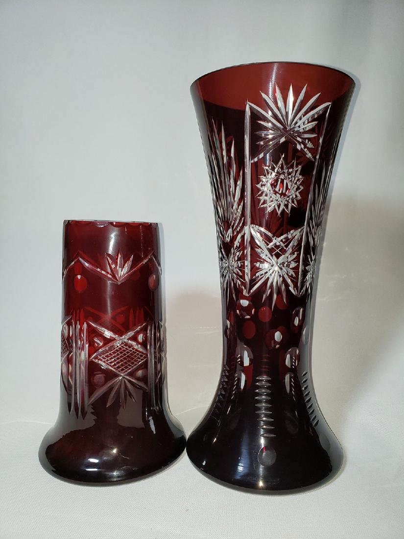 Lot of 2 cut to clear ruby bohemian glass vases