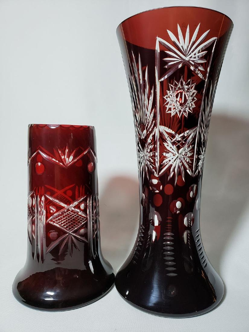 Lot of 2 cut to clear ruby bohemian glass vases - 2