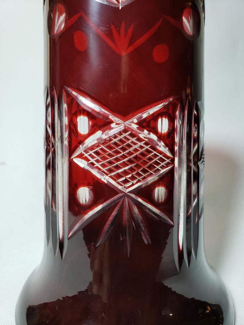 Lot of 2 cut to clear ruby bohemian glass vases - 4
