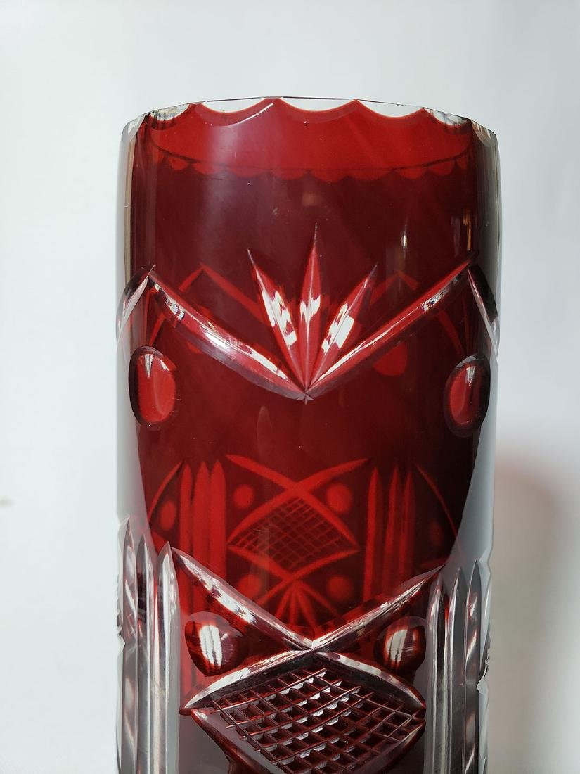 Lot of 2 cut to clear ruby bohemian glass vases - 5