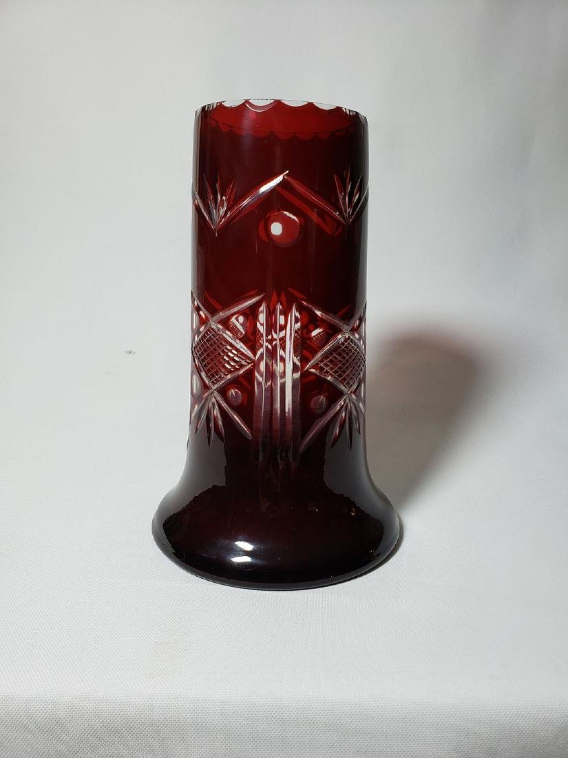 Lot of 2 cut to clear ruby bohemian glass vases - 6
