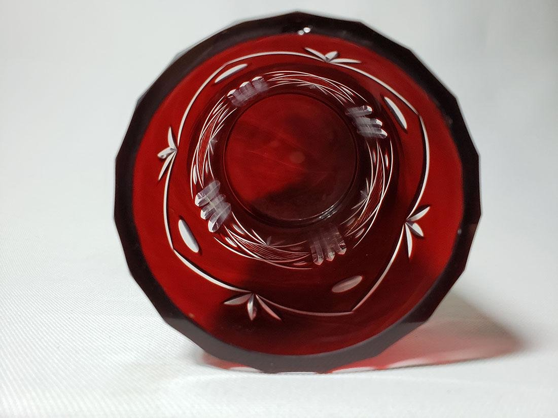 Lot of 2 cut to clear ruby bohemian glass vases - 7