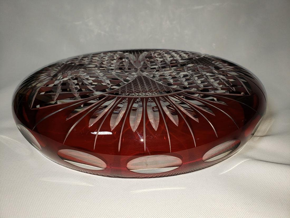 Vintage cut to clear ruby bohemian glass dish - 9