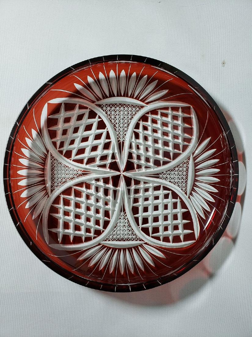 Vintage cut to clear ruby bohemian glass dish