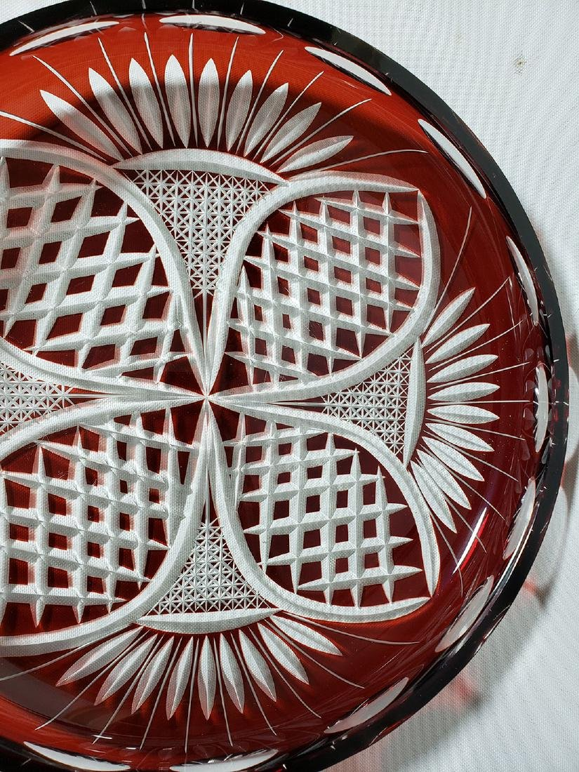 Vintage cut to clear ruby bohemian glass dish - 2