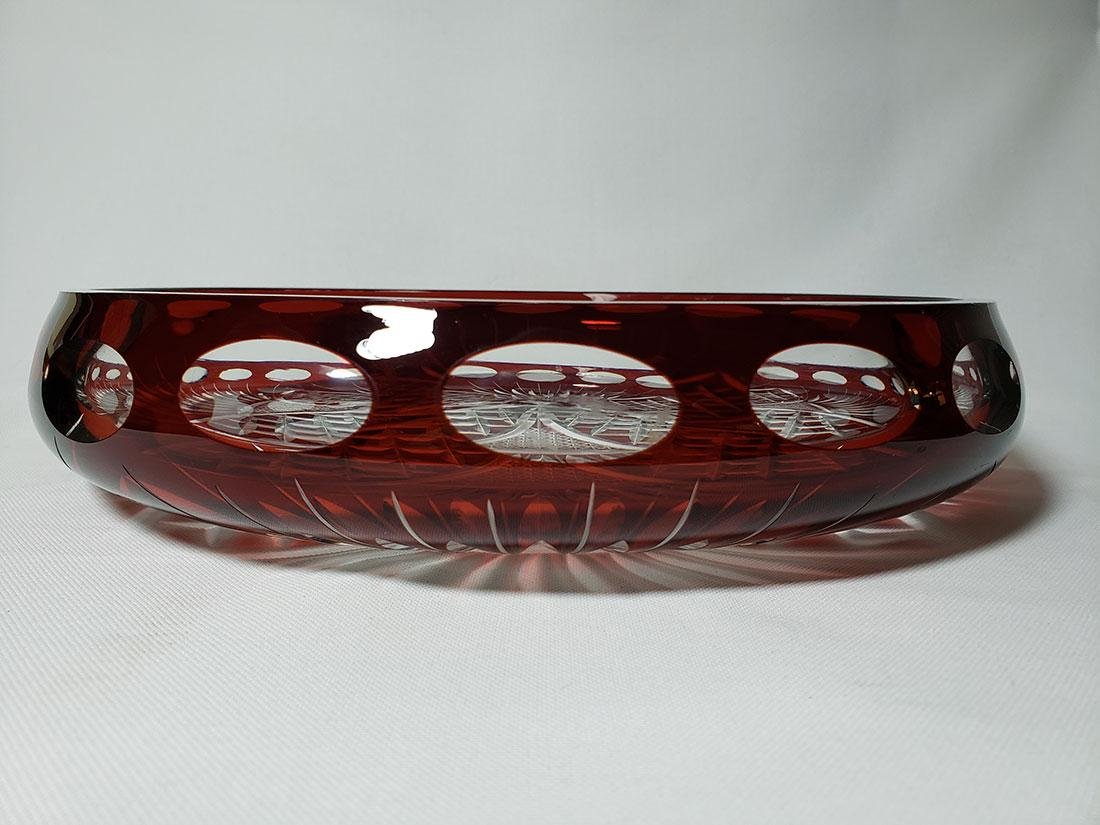 Vintage cut to clear ruby bohemian glass dish - 6