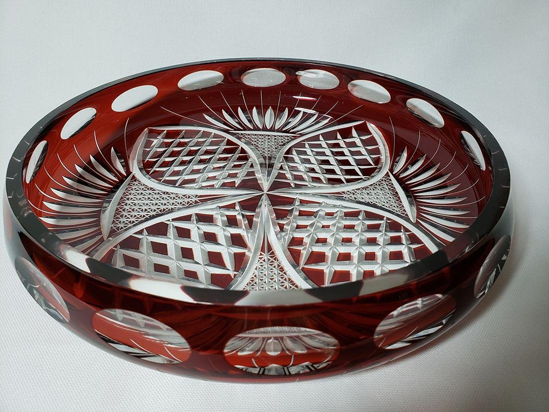 Vintage cut to clear ruby bohemian glass dish - 7