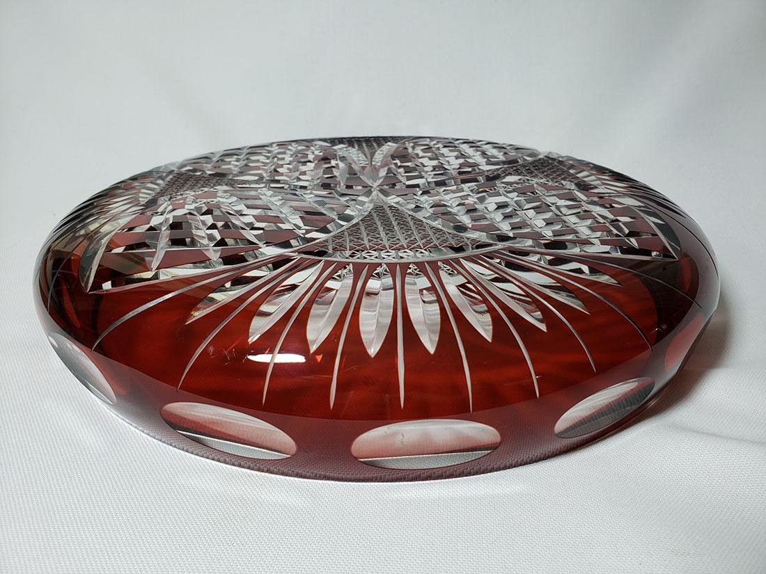 Vintage cut to clear ruby bohemian glass dish - 8