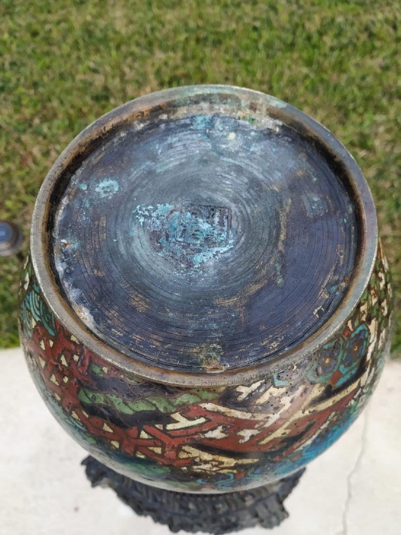 A fine antique enamel cloisonne vase with mark - 6