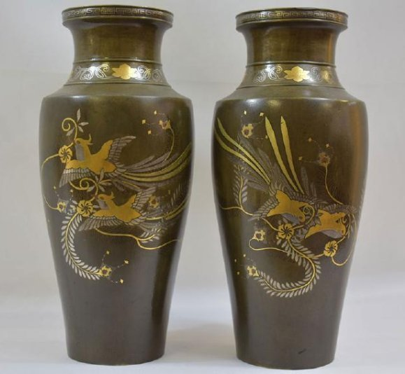 Pr Antique Japanese Mixed Metal Vases 19th C Meiji
