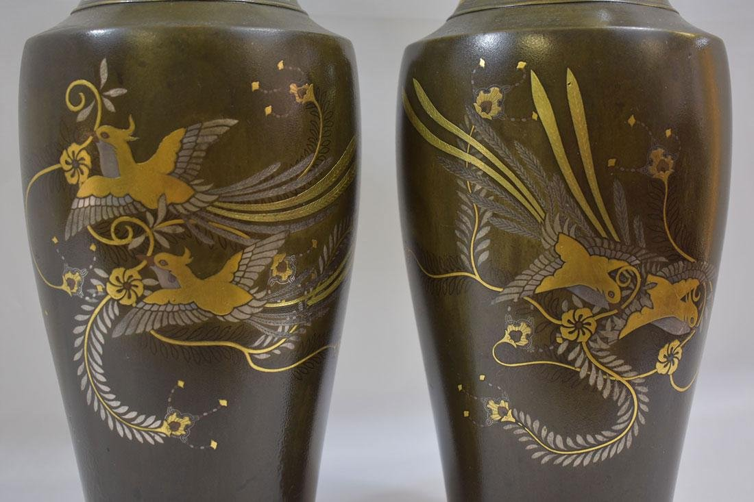 Pr Antique Japanese Mixed Metal Vases 19th C Meiji - 2