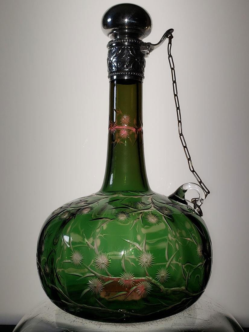 ABP 2 color cut glass chain decanter Stevens & Williams