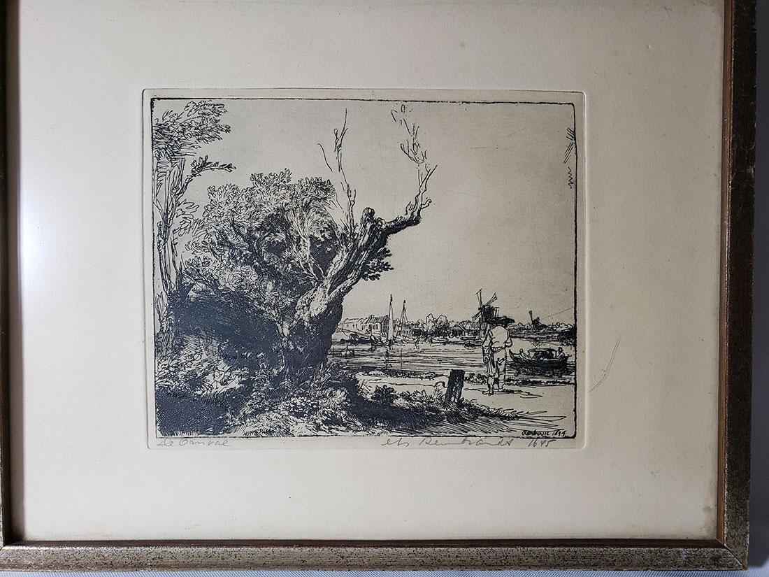 Antique Rembrandt engraving signed