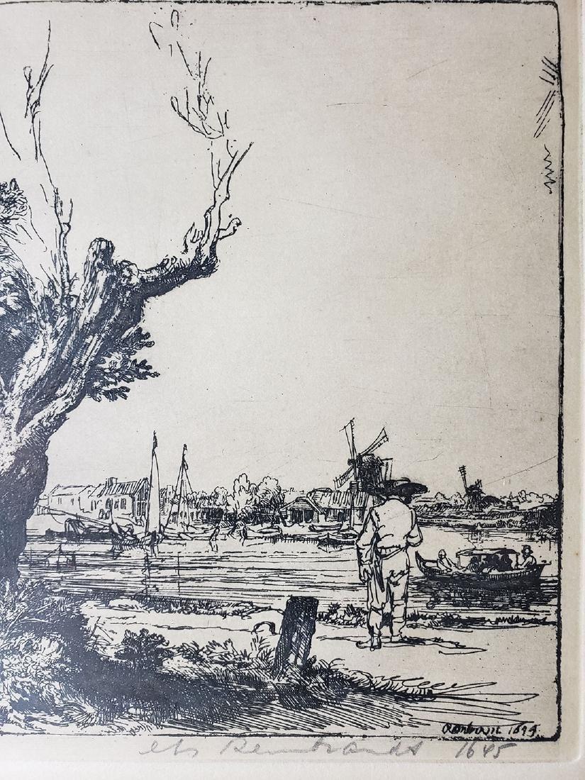 Antique Rembrandt engraving signed - 2