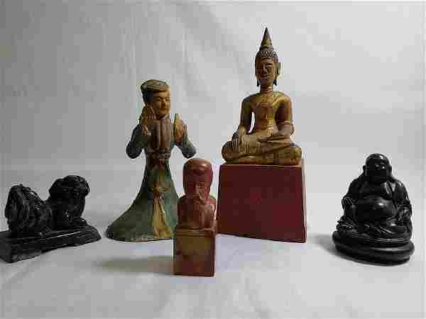 Grouping of 5 Asian Chinese items Hard stone and wood