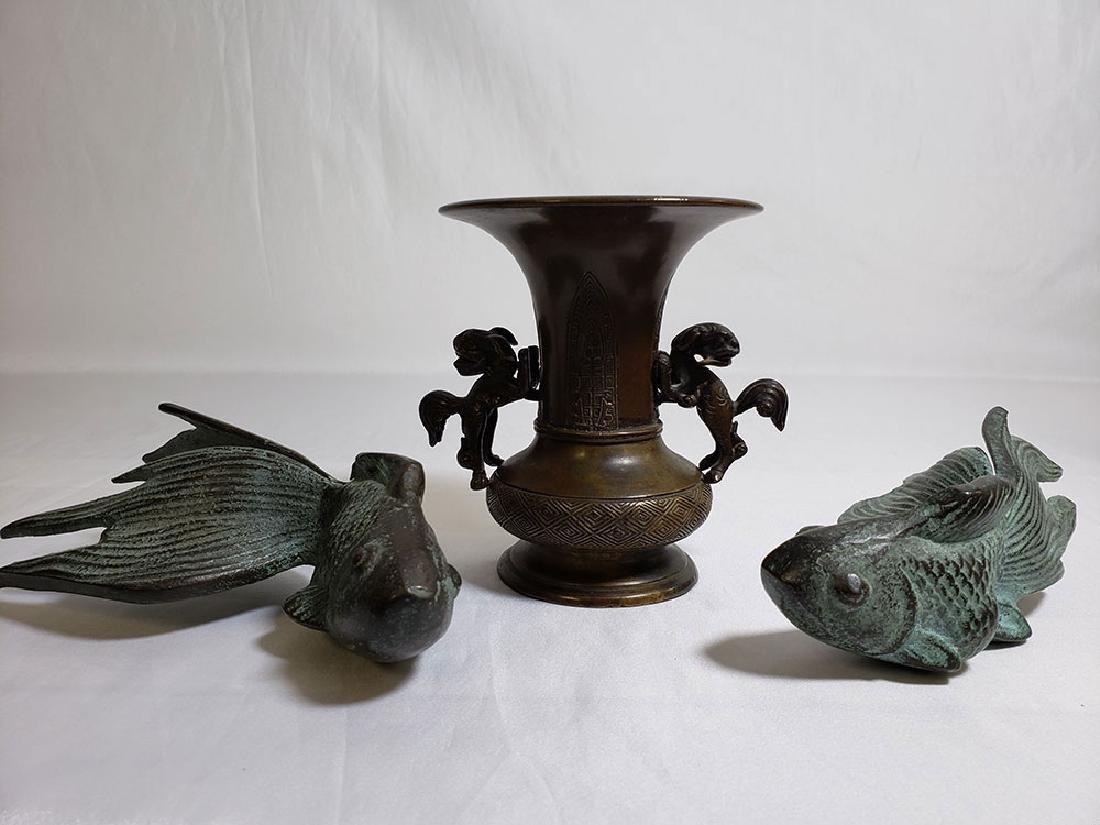 A Japanese grouping bronze koi fish & antique Japanese