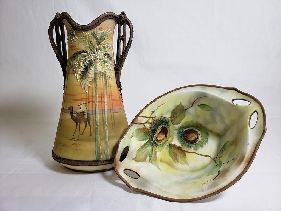 Antique hand painted Nippon orientalist vase bowl