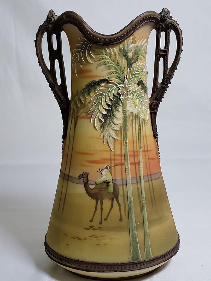 Antique hand painted Nippon orientalist vase bowl - 6