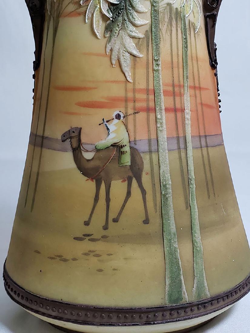 Antique hand painted Nippon orientalist vase bowl - 7
