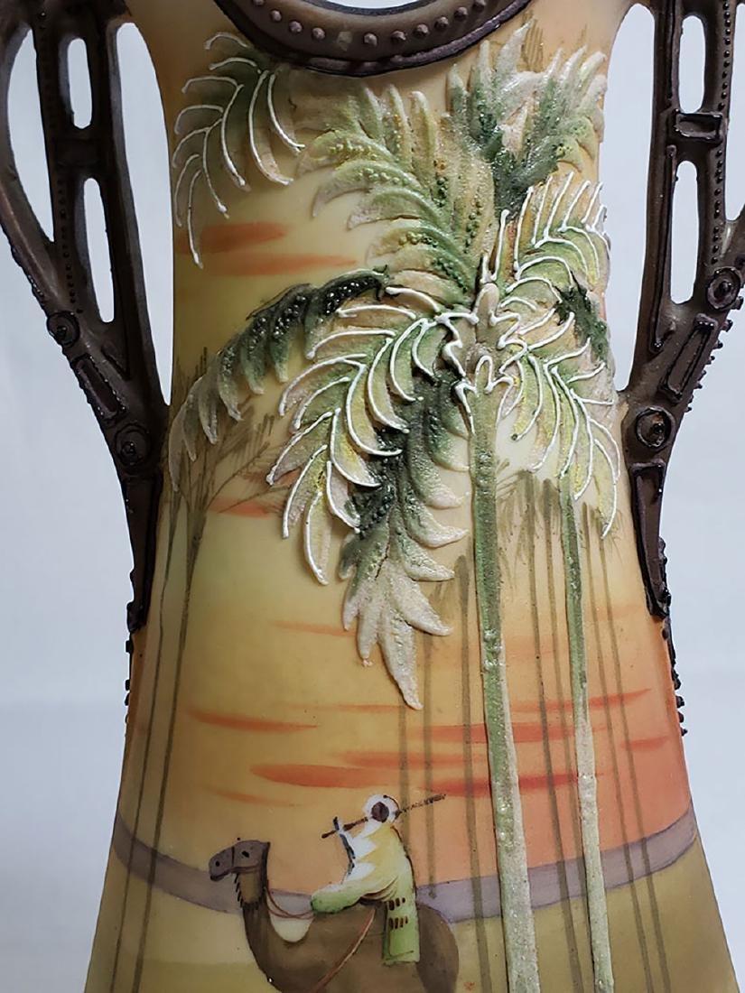 Antique hand painted Nippon orientalist vase bowl - 8