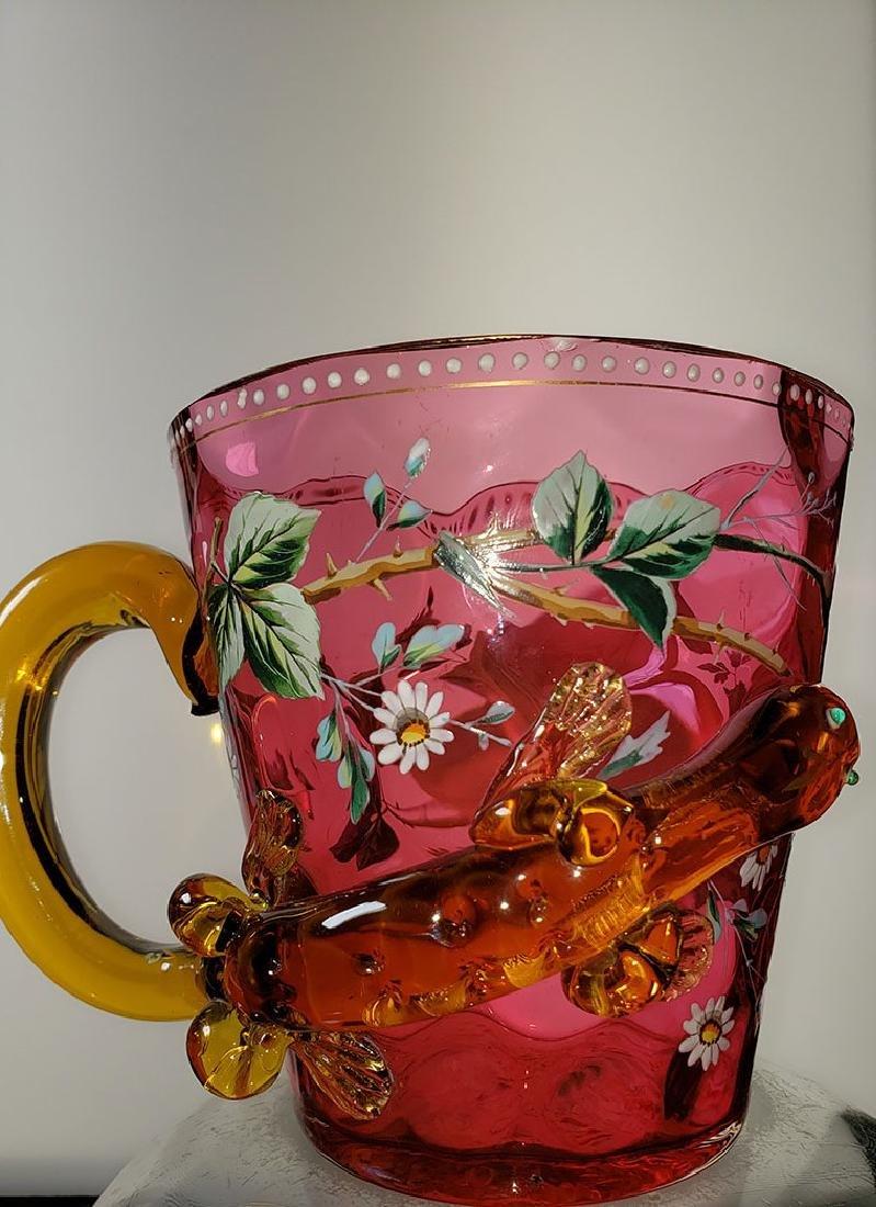 A fine enamel Moser cranberry salamander vase 19 c