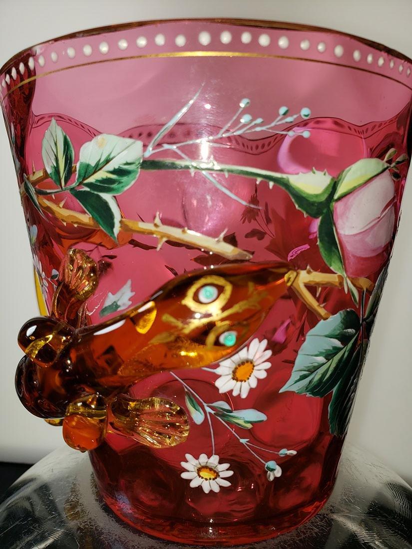 A fine enamel Moser cranberry salamander vase 19 c - 2