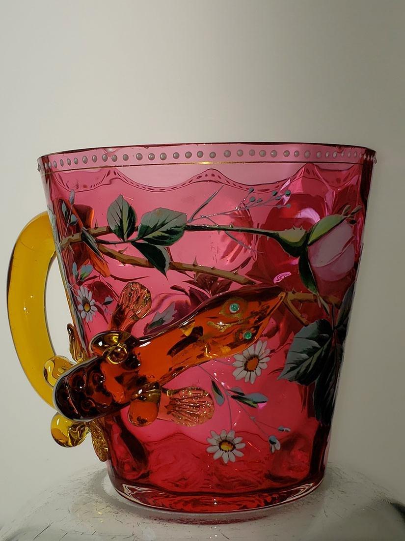 A fine enamel Moser cranberry salamander vase 19 c - 3