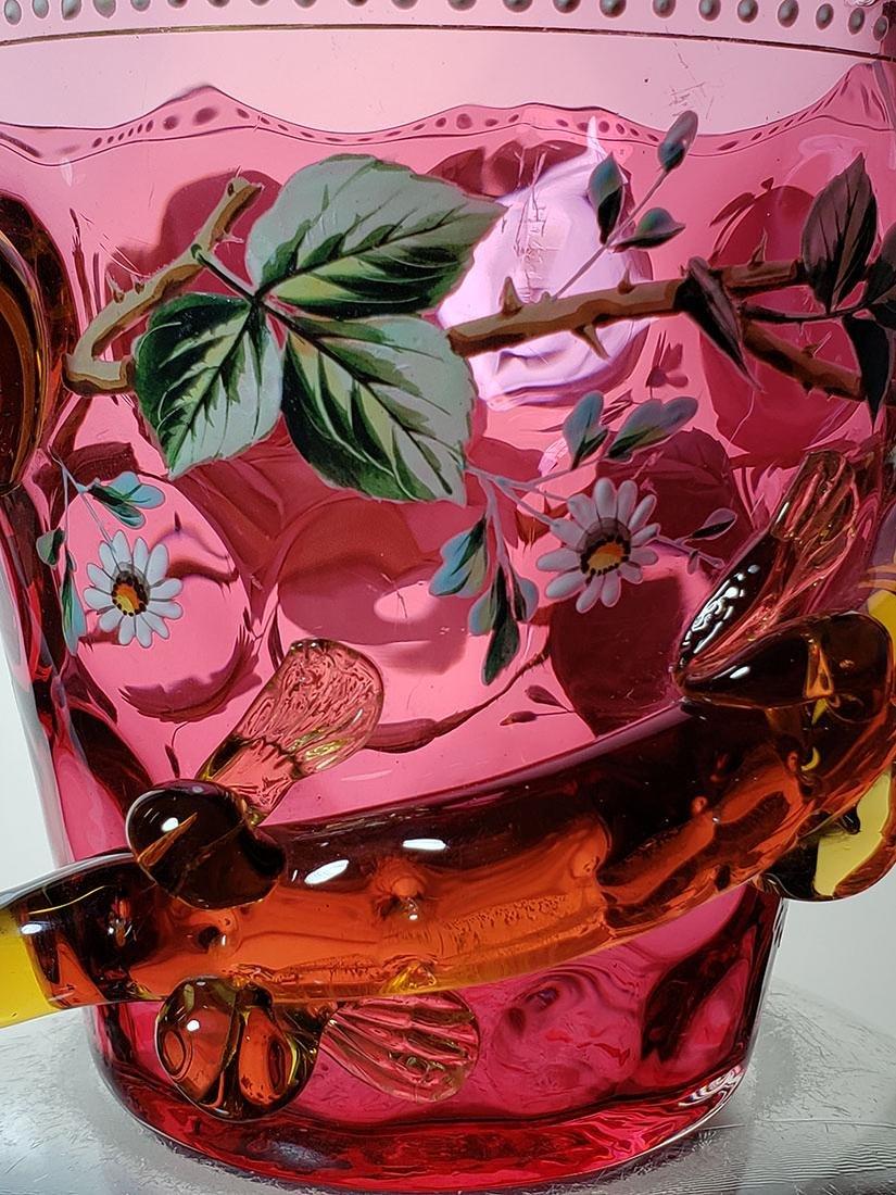 A fine enamel Moser cranberry salamander vase 19 c - 5