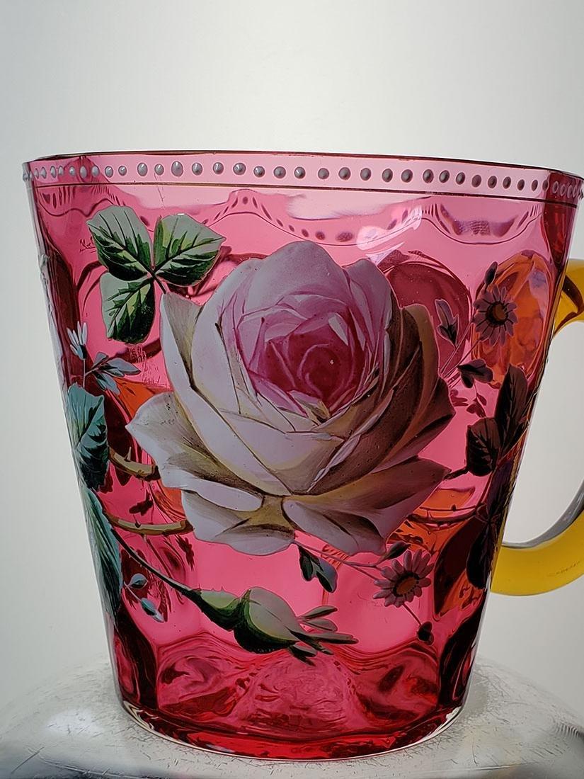 A fine enamel Moser cranberry salamander vase 19 c - 7