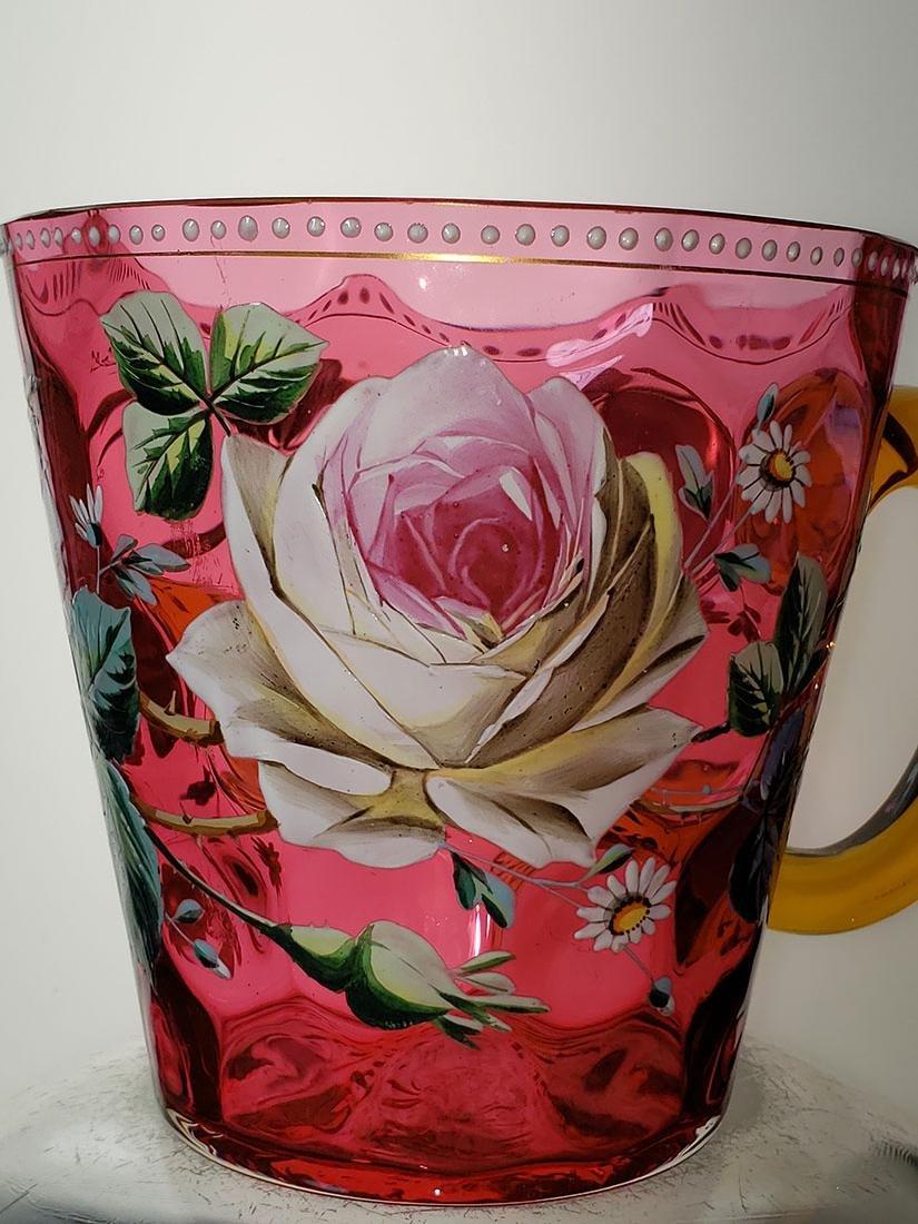 A fine enamel Moser cranberry salamander vase 19 c - 8