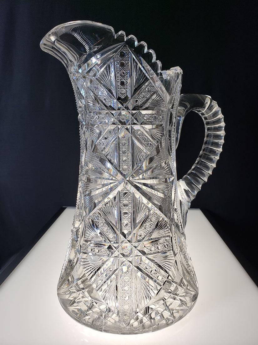 America Brilliant Period heavy cut glass pitcher