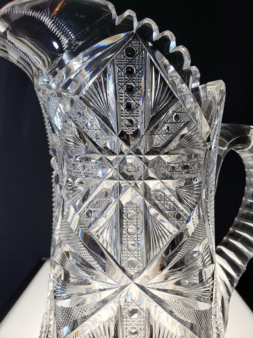 America Brilliant Period heavy cut glass pitcher - 4