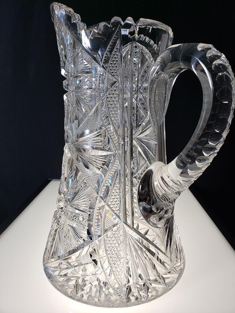 America Brilliant Period heavy cut glass pitcher - 5