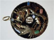 18 K Gold Chinese phoenix bird pendant w/ opal ruby