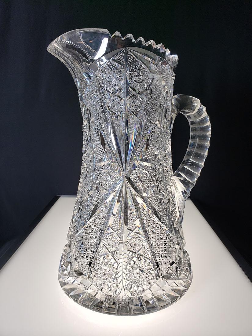 American Brilliant Period very heavy cut glass pitcher