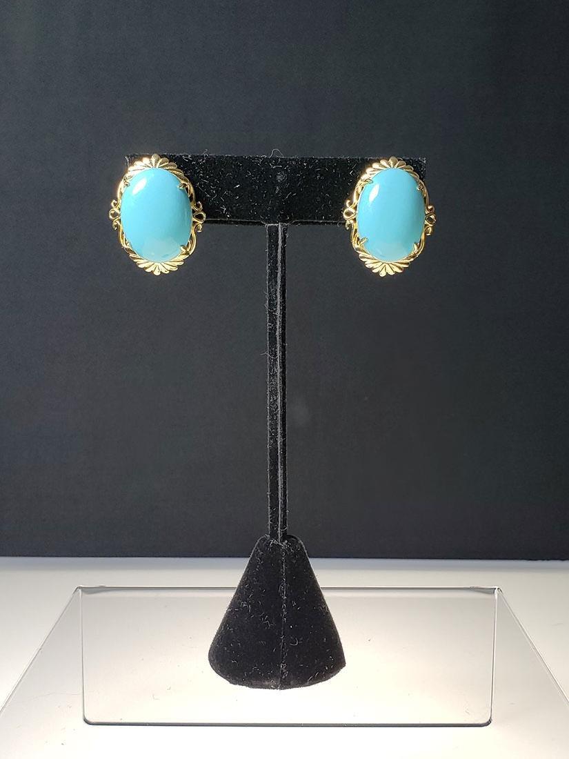 Pr of 14 K gold Persian gem turquoise earrings