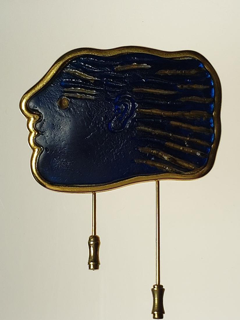 Signed Art Deco Daum Nancy art glass art deco brooch