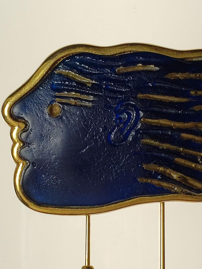 Signed Art Deco Daum Nancy art glass art deco brooch - 2