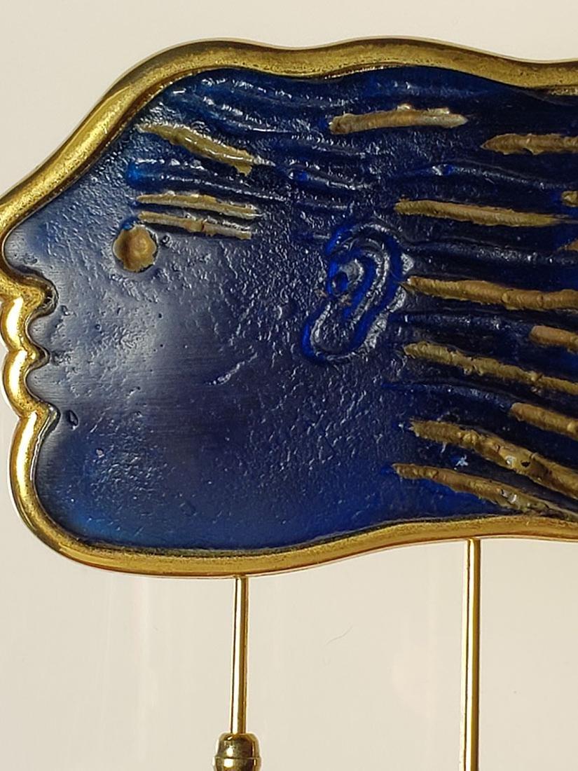 Signed Art Deco Daum Nancy art glass art deco brooch - 4