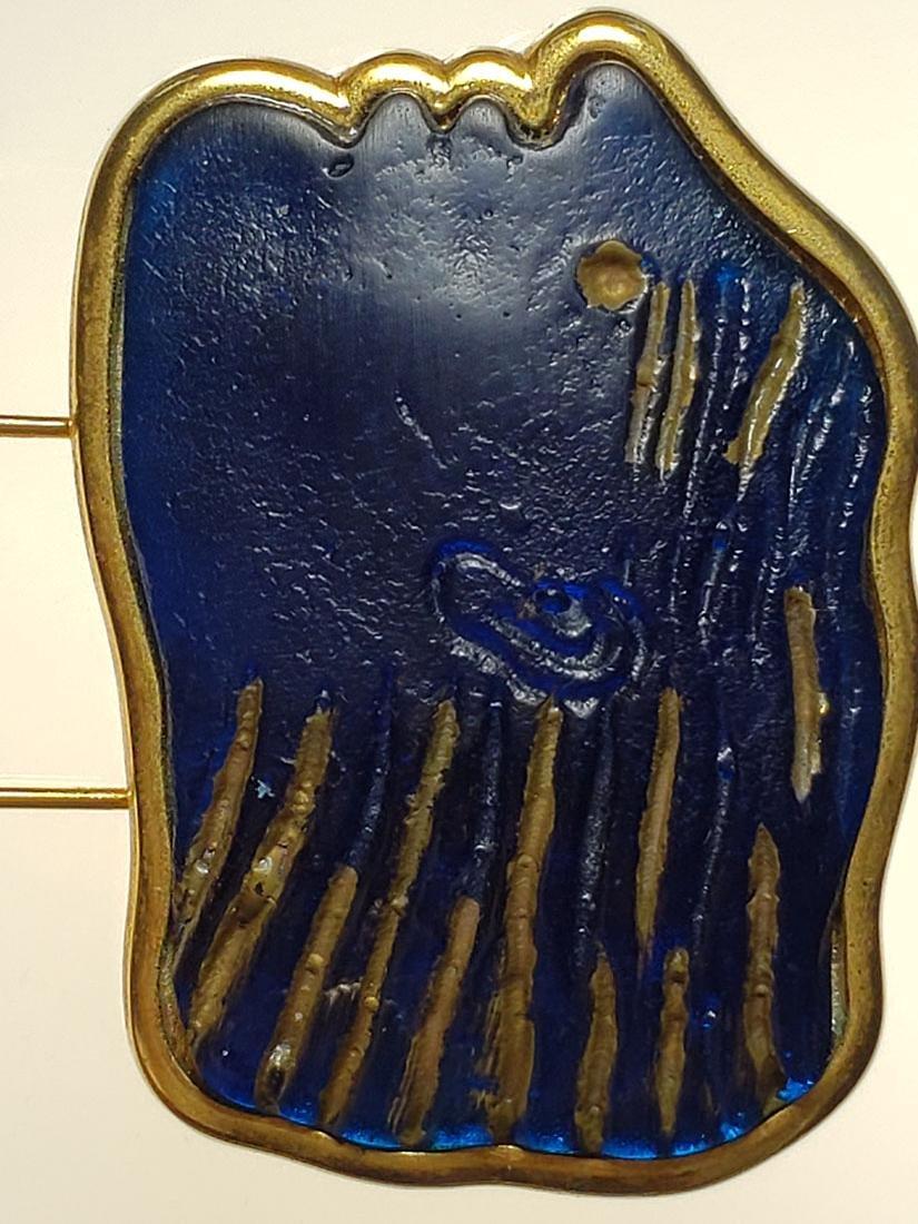 Signed Art Deco Daum Nancy art glass art deco brooch - 5