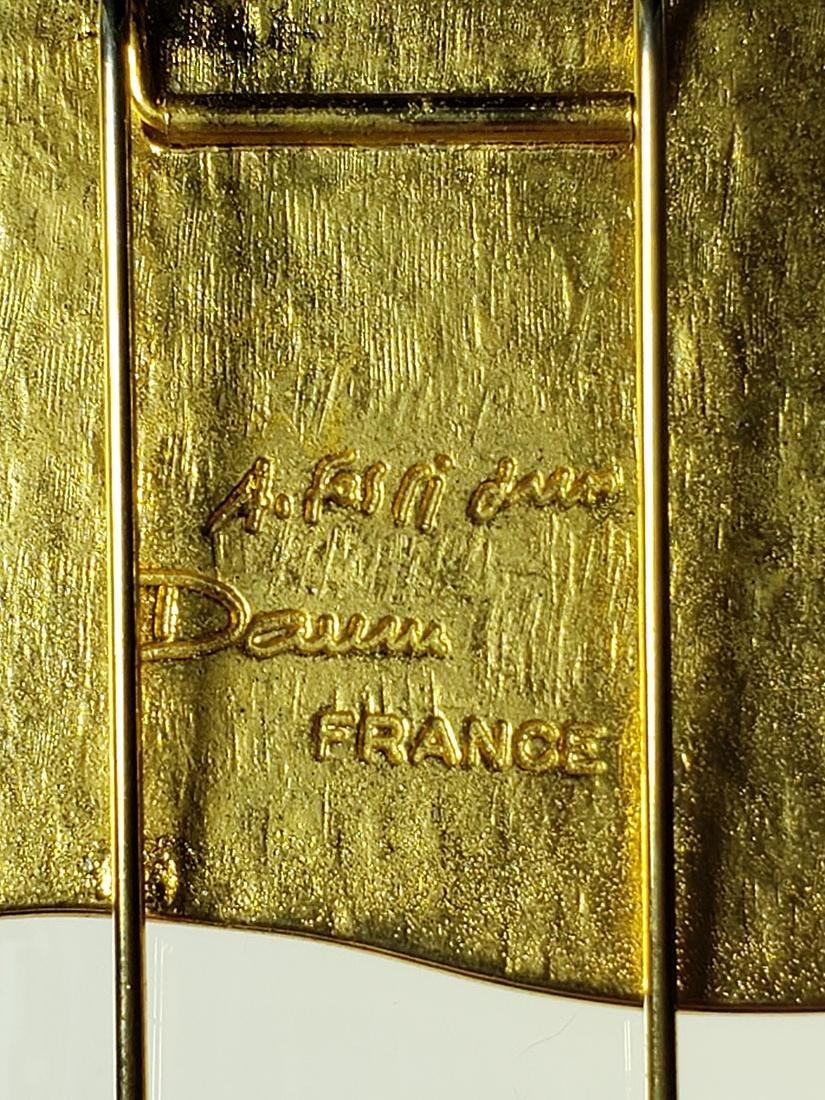Signed Art Deco Daum Nancy art glass art deco brooch - 7