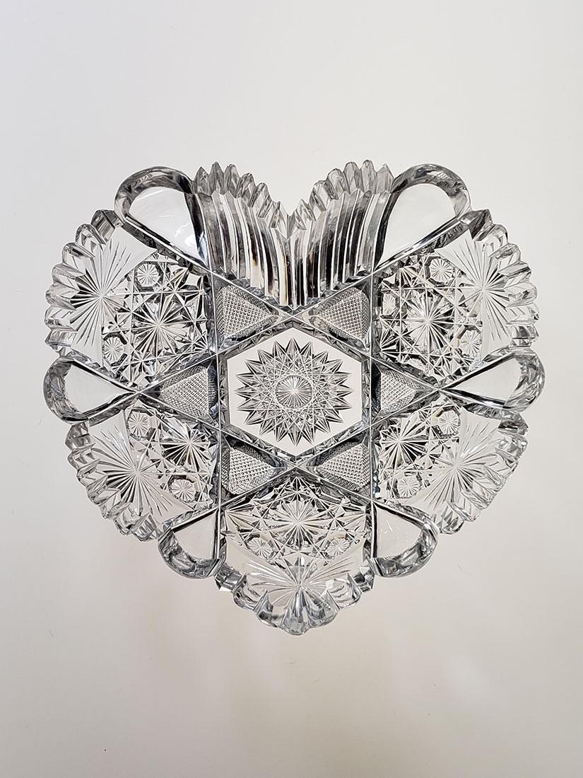 American Brilliant Period cut glass heart shape dish