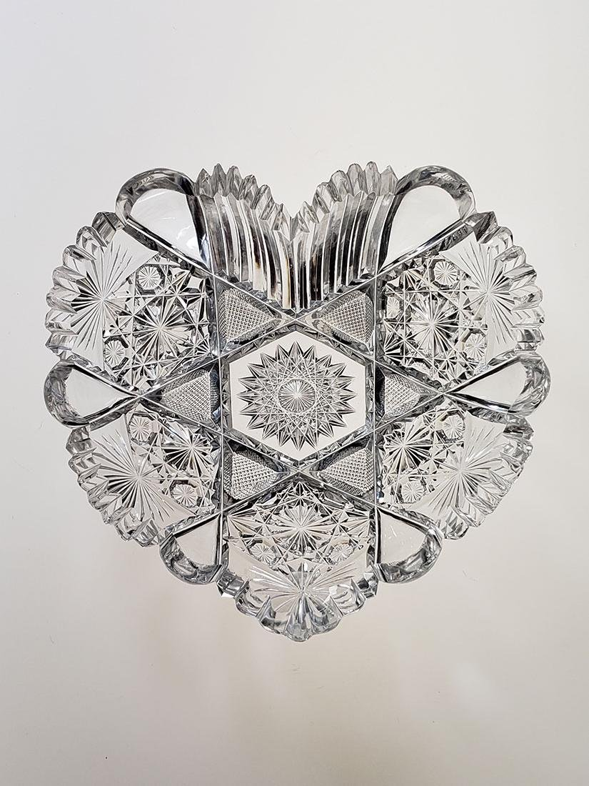 American Brilliant Period cut glass heart shape dish