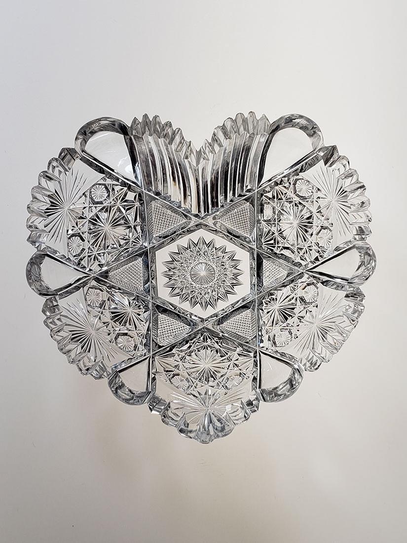 American Brilliant Period cut glass heart shape dish - 2