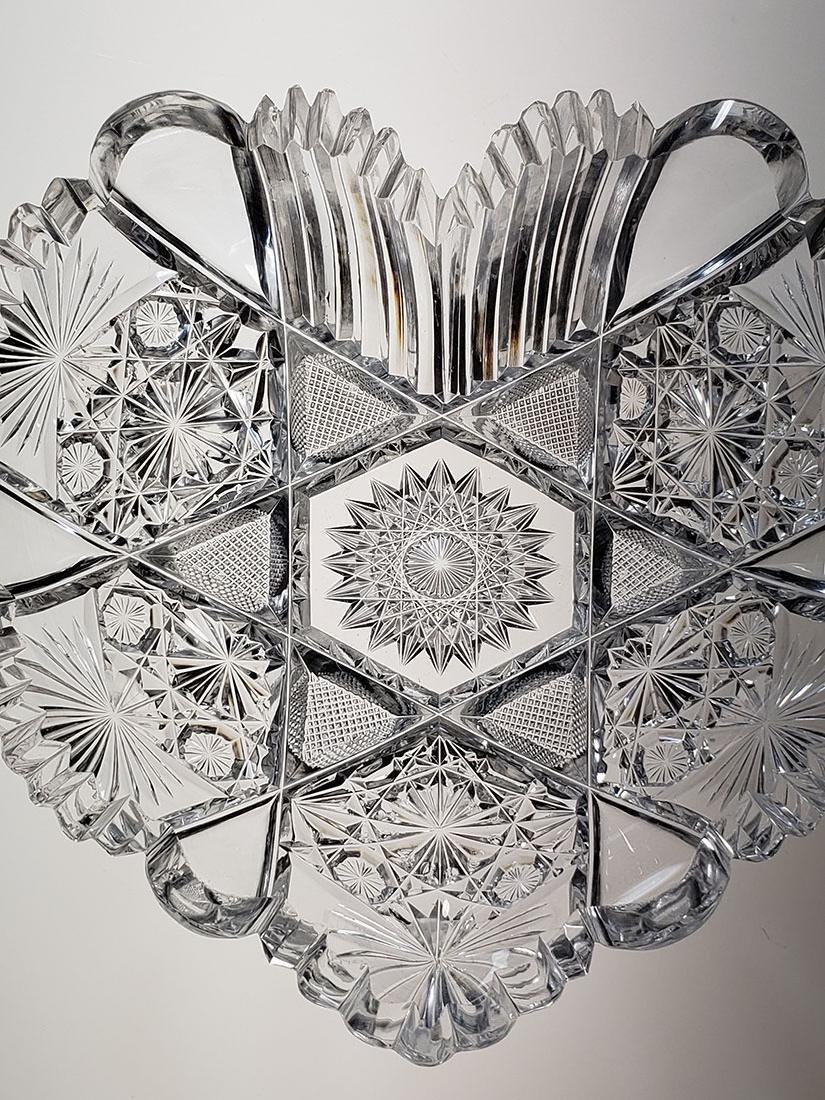 American Brilliant Period cut glass heart shape dish - 3