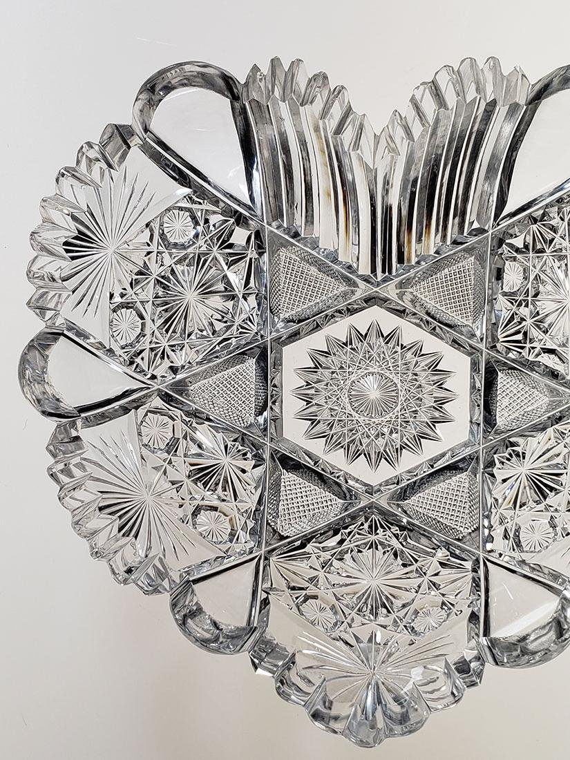 American Brilliant Period cut glass heart shape dish - 4