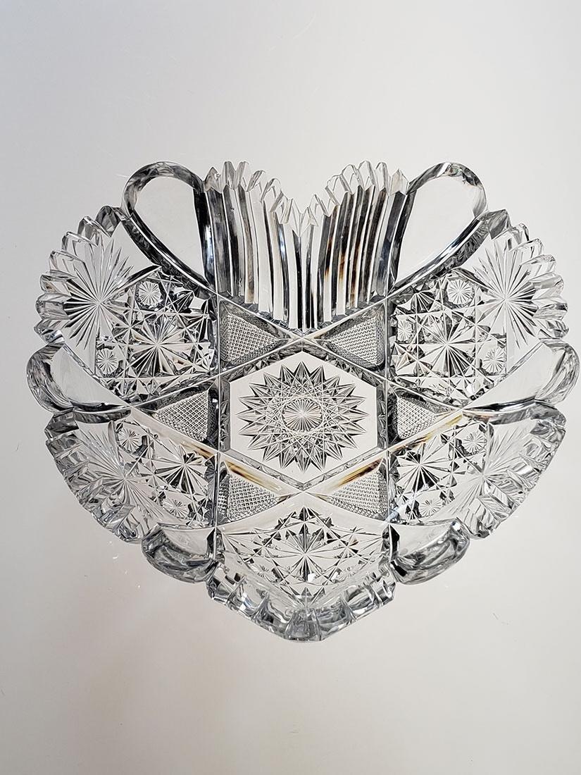 American Brilliant Period cut glass heart shape dish - 5
